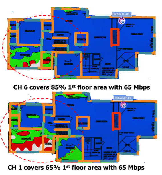 Figure 3. Downlink coverage prediction of typical residential floor plan using measured TRP Results